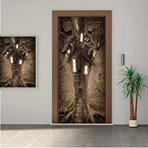 """Fantasy House Decor Premium Stickers for Door/Wall/Fridge Home DecorFantasy Tree House with Light in The Mysterious Forest Fairytale Story Artwork Decorative 28x80"""" ONE Piece Sticky Mural,Decal,Cover,"""