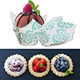 mini bakery display case - 50pcs Paper Cake Cases Flame Pattern Mini Tulip Baking Cups Paper Cupcake Liner Cases Muffin Wrappers