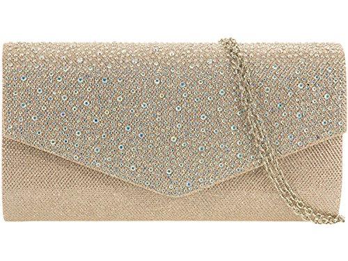Xardi London, pochette da sera da donna, con glitter e diamanti, per matrimonio Champagne