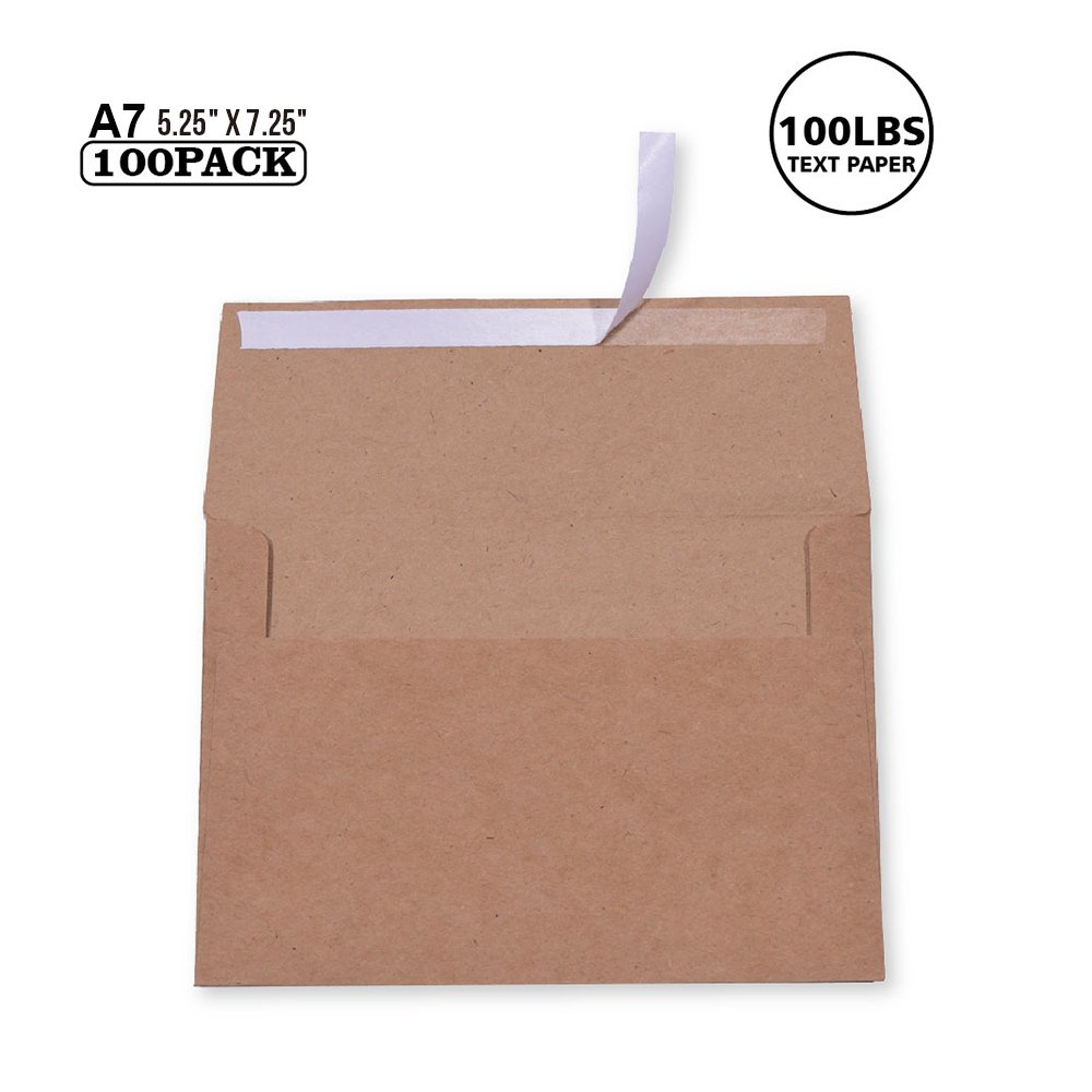 100 Pack A7 Brown Kraft Paper Invitation 5 X 7 Envelopes - Quick selbst Seal für 5X7 Cards| Perfect für Weddings, Invitations, Baby Shower| Stationery für General, Office | 5.25 X 7.25 Inches