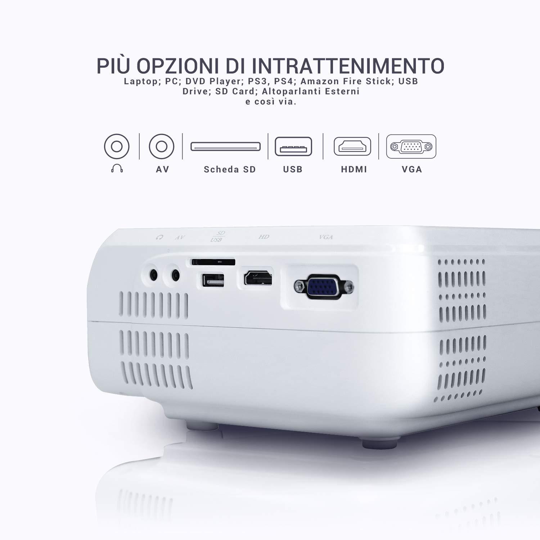Compatibile Android // IOS // PS4 // TV Box// Micro SD Per Casa //Viaggio//Estero Supporta 1080p BOMAKER LCD Videoproiettore Risoluzione Nativa 720p HD Proiettore Mini Proiettore Portatile 3600 Lumen