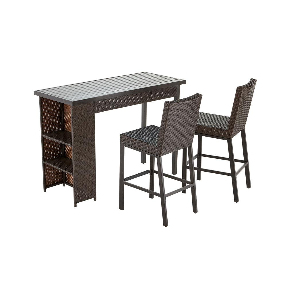 Amazon com  Hampton Bay Rehoboth 3 Piece Wicker Outdoor Bar Height Dining  Set  Patio  Lawn   Garden. Amazon com  Hampton Bay Rehoboth 3 Piece Wicker Outdoor Bar Height
