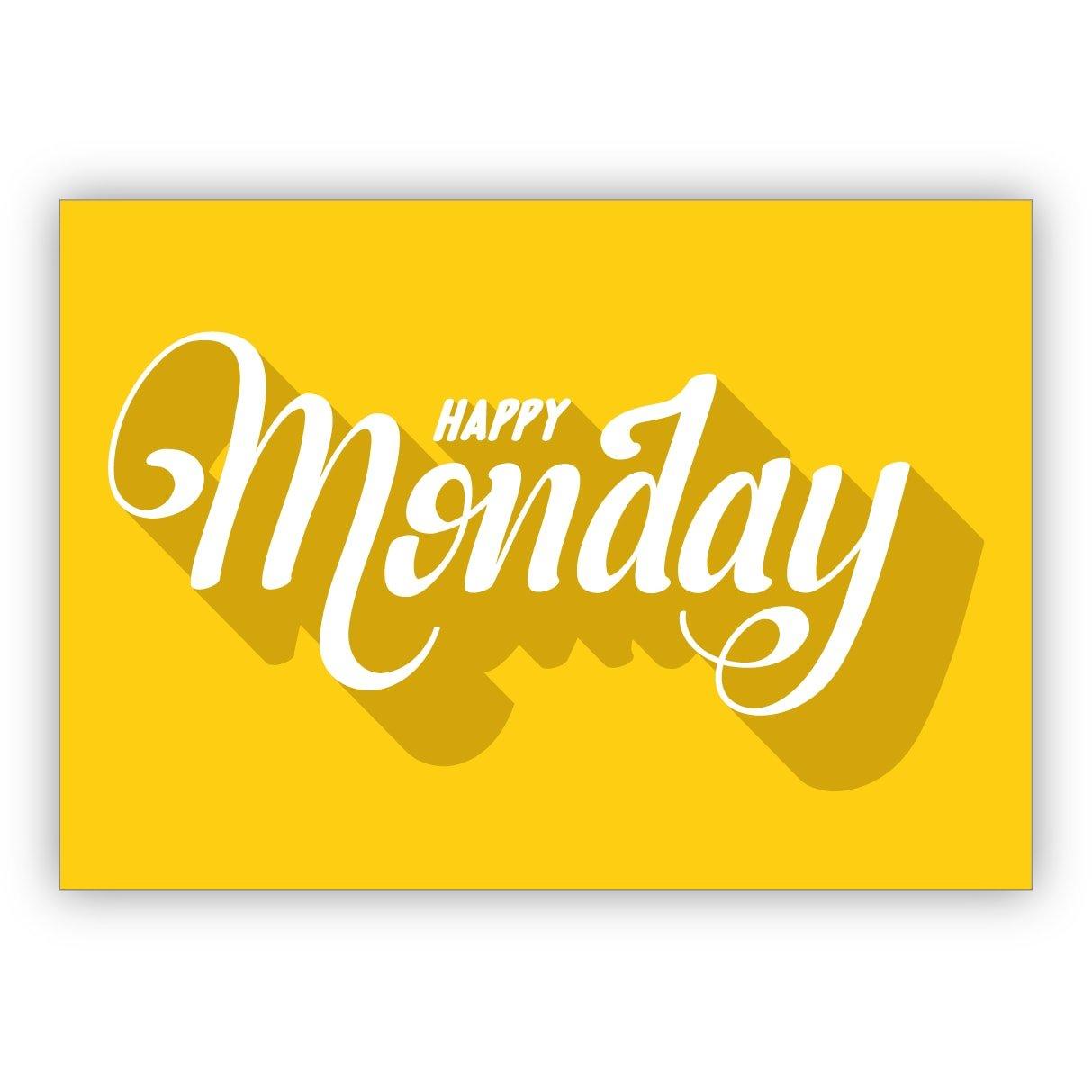 Sunny typografische Motto Happy Monday Week Start: Greeting Card ...