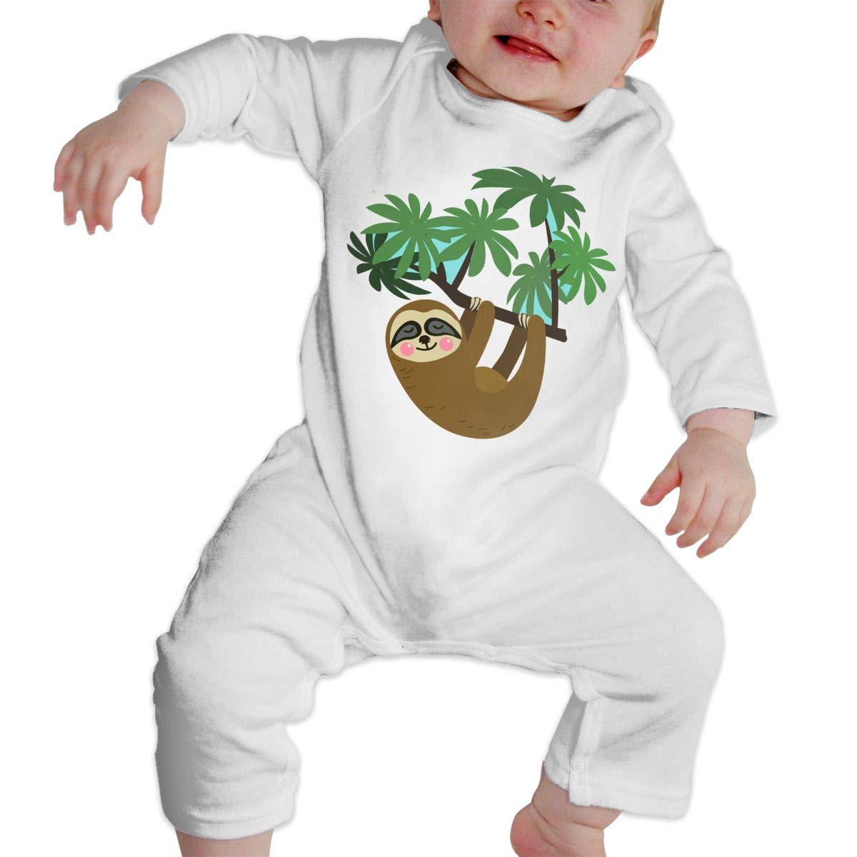 Sloth Hanging On Tree Branch Newborn Kids Long Sleeve Bodysuit Jumpsuit