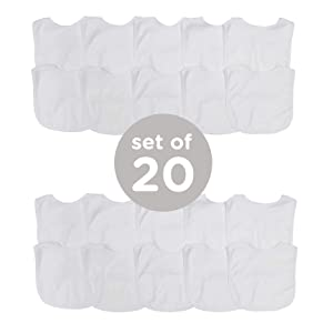 Neat Solutions 2-Ply Knit Terry Solid Color Feeder Bibs in White - 20 Pack
