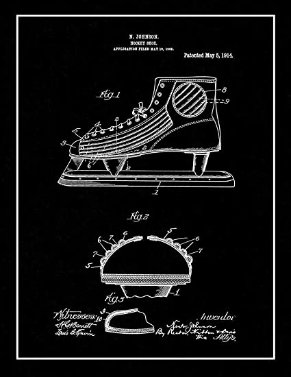 54b758edf1aa4 Amazon.com: Hockey Shoe Patent Print Black Matte with Border (8.5