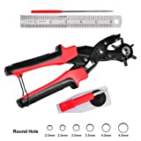 Professional Leather Hole Punch, Portable Revolving Punch Pliers Kit with 6 Round Hole Sizes for Belt, Watch Band, Cloth, Shoes, Handbags, Plastic, Gaskets, Cardboard, etc (Color: Black&Red, Tamaño: Small)