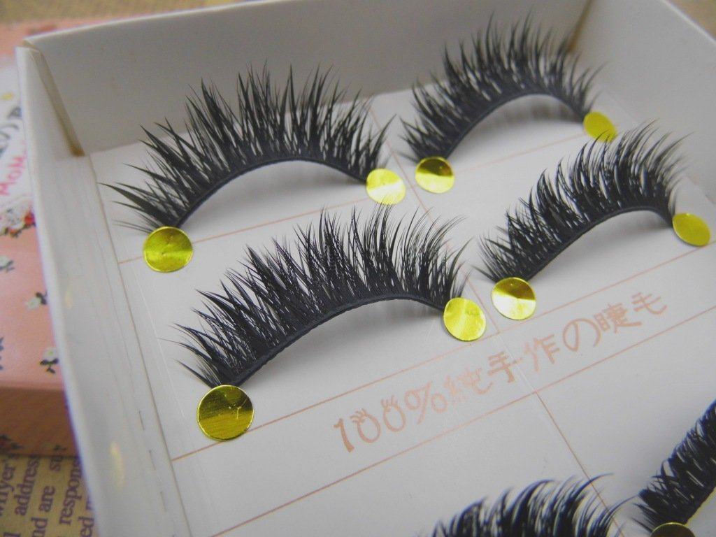 HOT MOMO 5 pairs Thick Long Cross Party False eyelashes Black band fake eye lashes
