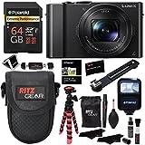 Panasonic LUMIX DMC-LX10K Camera, Polaroid 64GB, Memory Card Wallet, Flash, Ritz Gear Tripod, Cleaning Kit, Case and Accessory Bundle