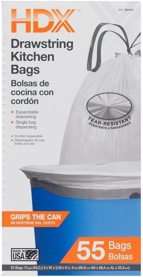 Amazon Com Hdx 13 Gal Kitchen Drawstring White Trash Bags 55 Count Home Kitchen