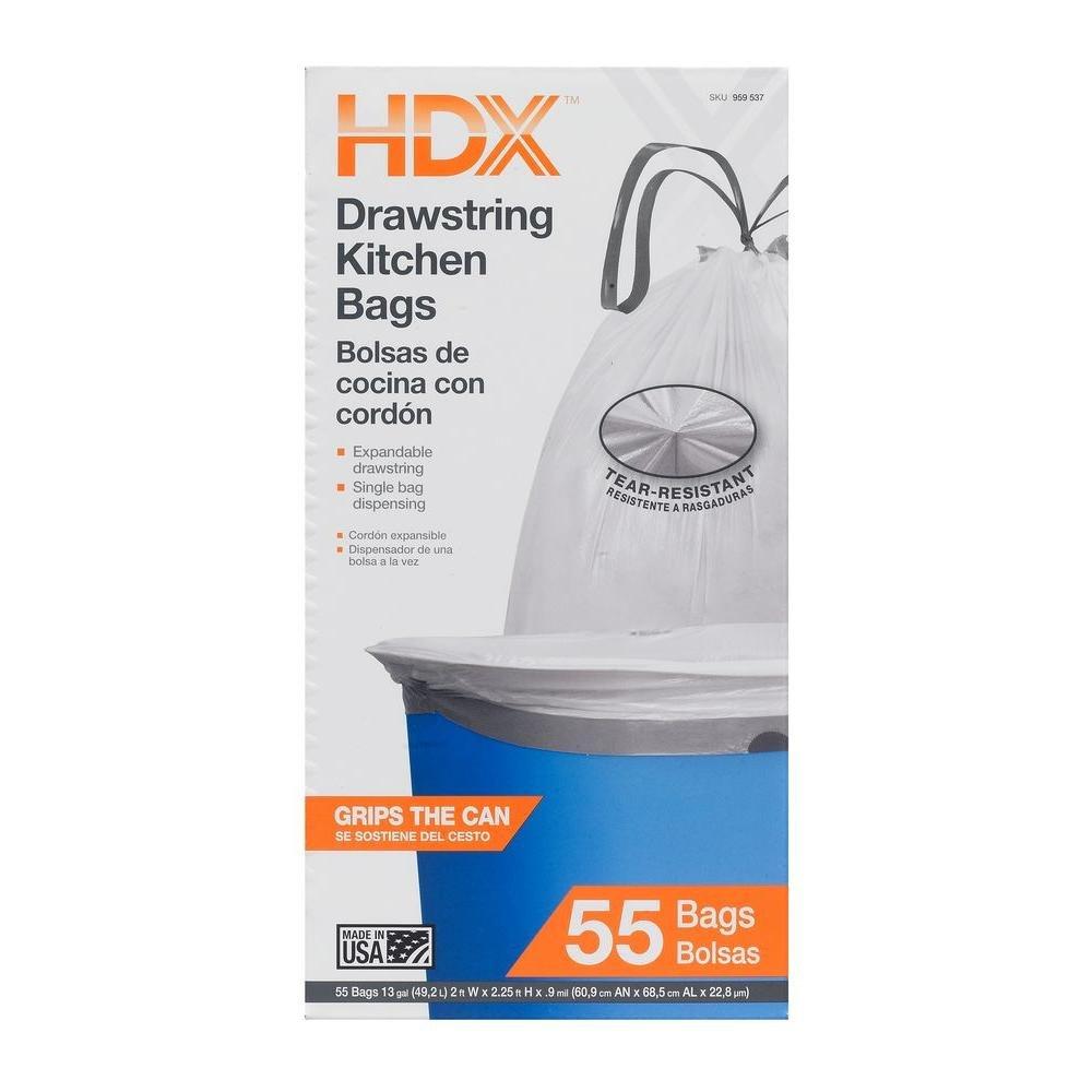 Amazon.com: HDX 13 Gal. Kitchen Drawstring White Trash Bags (55 Count): Home & Kitchen
