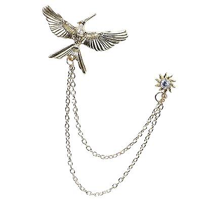 Homyl Pin Broche de Forma Pájaro con Cadenas Accesorios para Traje Camisa Vestido
