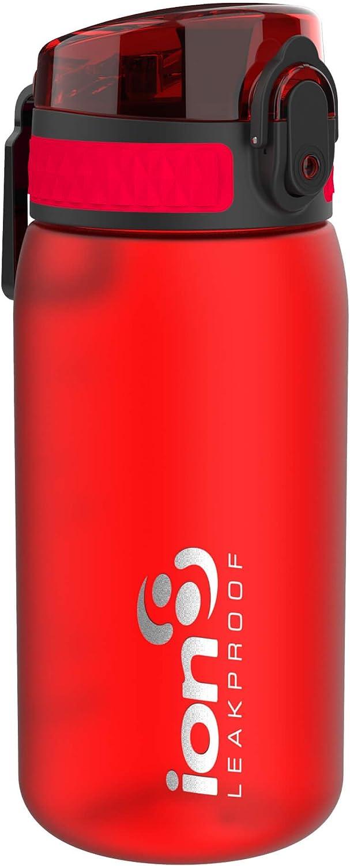 Ion8 Botella Agua Niños Sin Fugas, Sin BPA, Rojo