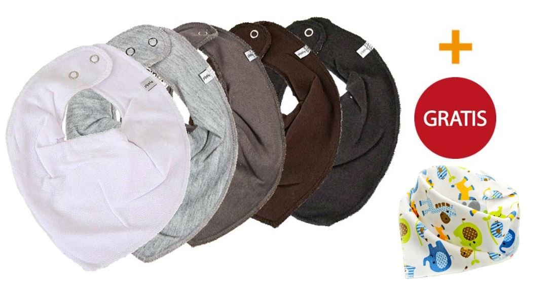 PIPPI ★ 5er Set Baby HALSTUCH Dreieckstuch 5 Stück WEISS GRAU SCHWARZ ★ + 1 Halstuch GRATIS (Elefant)
