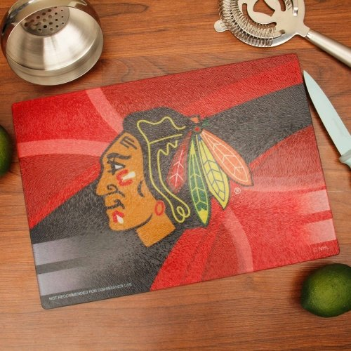 "The Memory Company NHL Chicago Blackhawks 8"" x 11.75"" Carbon Fiber Cutting Board, One Size, Multicolor from The Memory Company"
