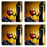 Liili Natural Rubber Square Coasters IMAGE ID: 9248465 Still life with wine bottles glasses and oak barrels