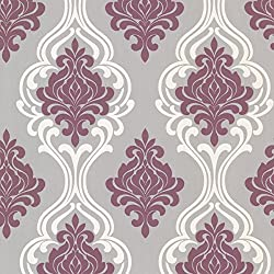 Decorline 2533-20211 Indiana Damask Wallpaper, Purple