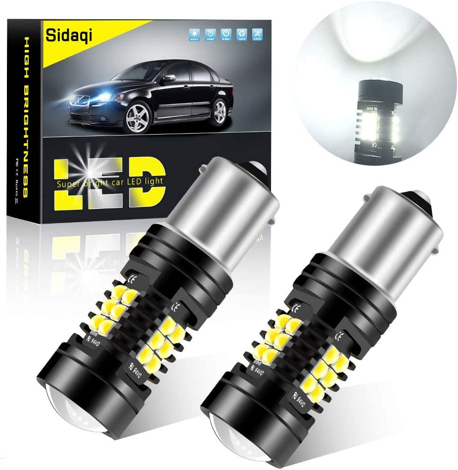 Sidaqi 2X 1156 BA15S P21W bombilla LED luz de freno del coche luz de estacionamiento luz trasera luz antiniebla trasera 21SMD 3030 chip diseño de doble lente súper brillante 12V-blanco