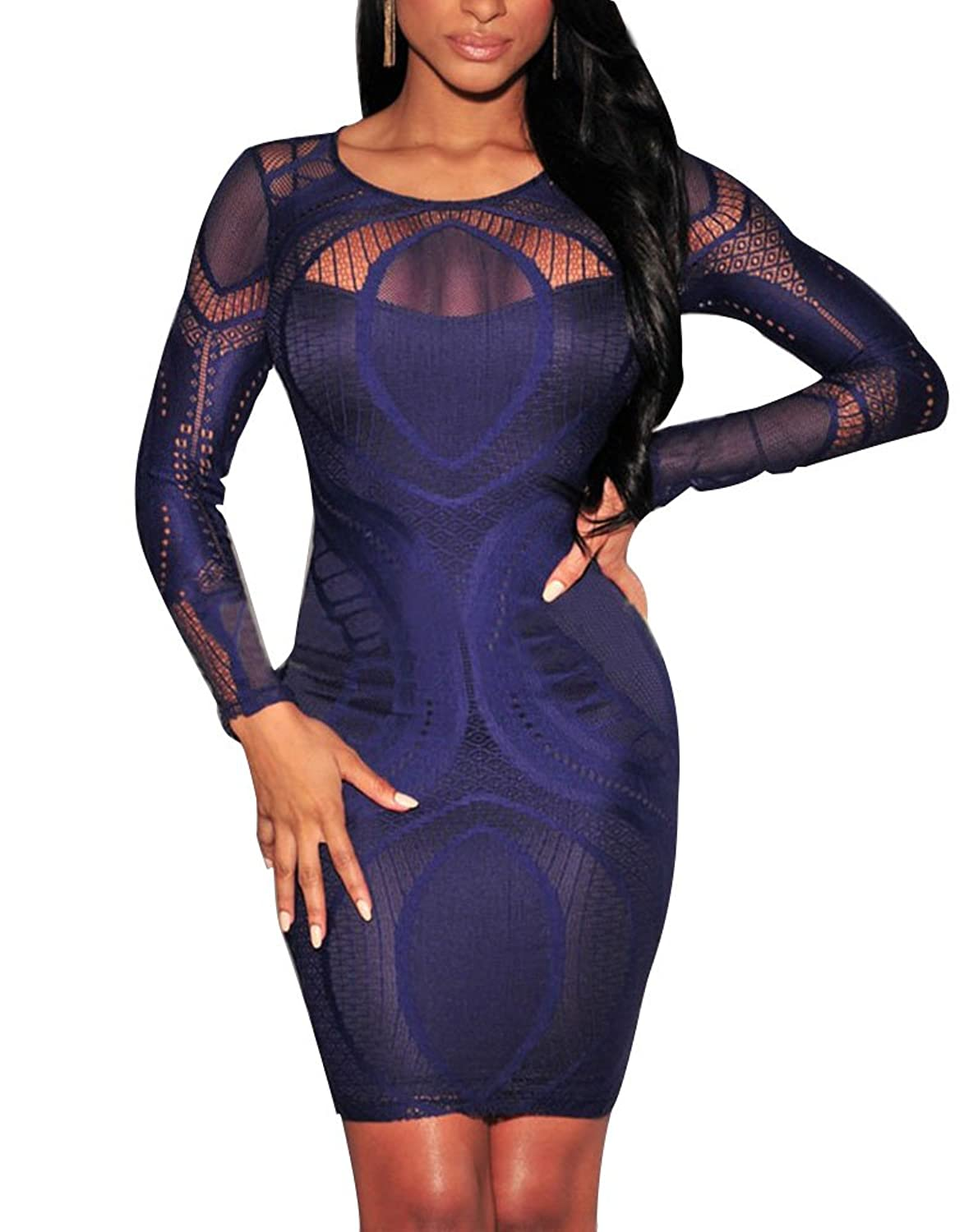 Cfanny Women's Lace Nude Illusion See Through Sleeves Bodycon Dress
