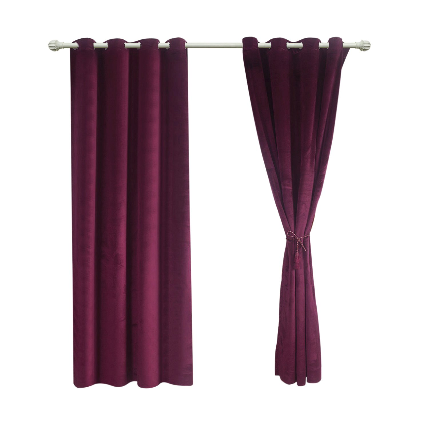 Sideli Solid Grommet Matt Heavy Velvet Curtain Drape Panel Blackout Super Soft in Theater| Bedroom| Living Room| Hotel 1 Piece (52-Inch-by-84-Inch, Purple)
