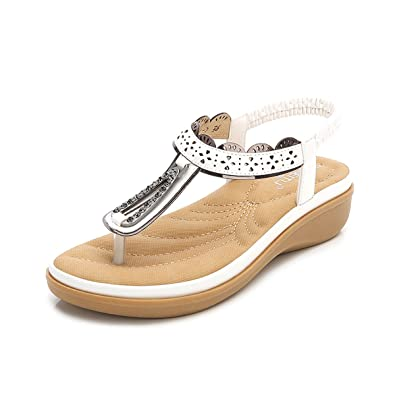 8522364b658f gracosy Women Summer Flip Flop Sandals Bohemia Low Wedge Sandals Post Thong Flip  Flops Slippers Comfy Beach Shoes for Girls Wide Fit T-Bar Sling Back Clip  ...