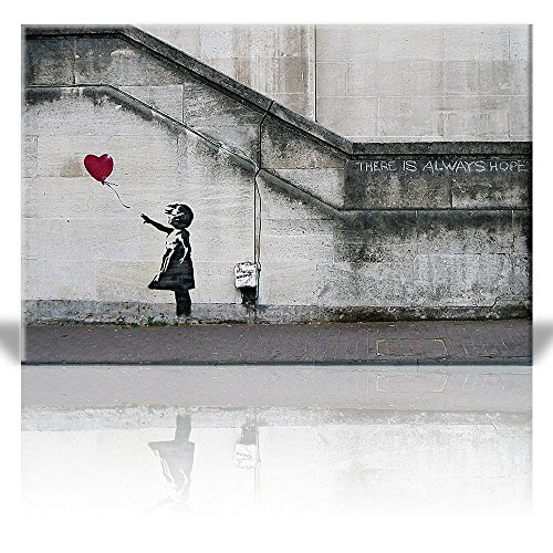 Print There is always hope Girl and red heart balloon Street Art Guerilla Banksy Street Artwork