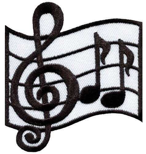 Musical notes G clef eighth music scale classical embroidered applique iron-on patch