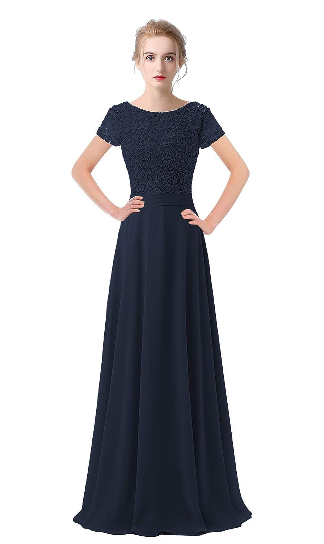 Navy bluee VaniaDress Women Lace Short Sleeves Long Evening Dress Prom Gown V061LF