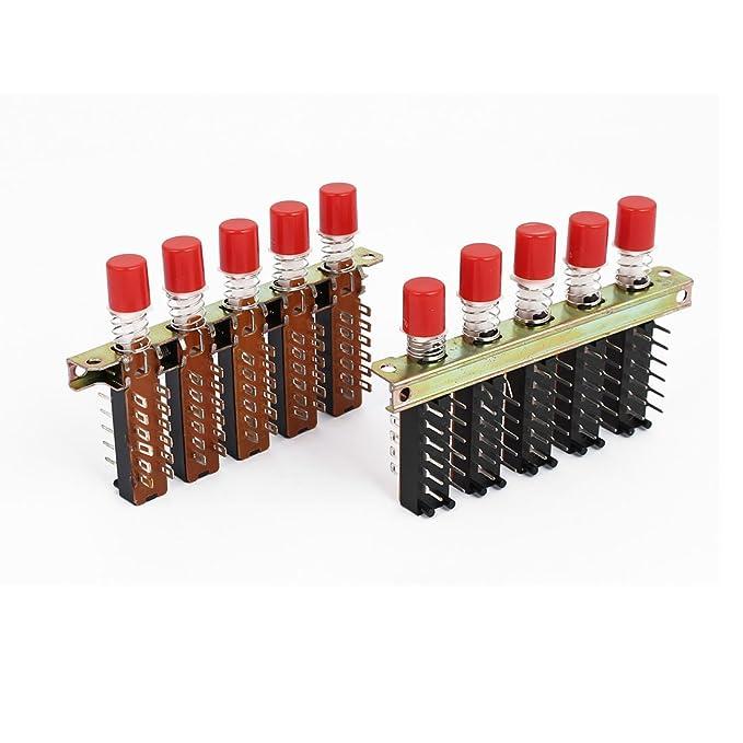 aexit 2 pieza 220 V 3 A Campana 4p2t 5 Rojo teclas teclado Interruptor de presión: Amazon.es: Bricolaje y herramientas