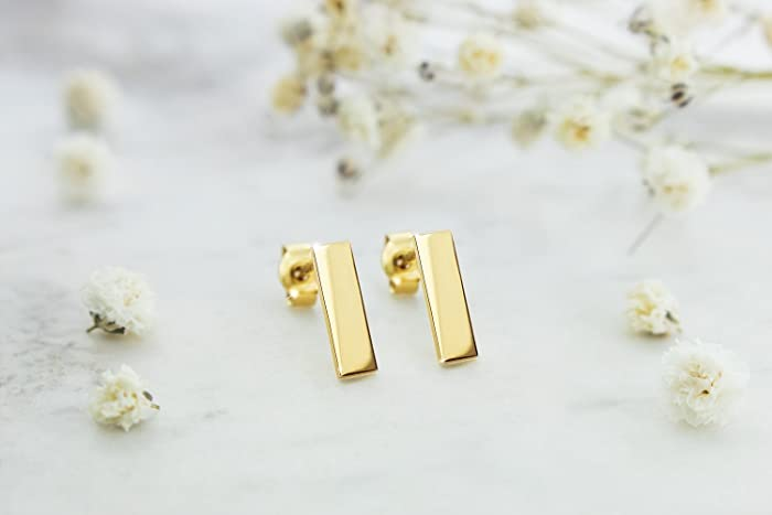 f7d504f52 Image Unavailable. Image not available for. Color: Gold Bar Earrings, 9K ...