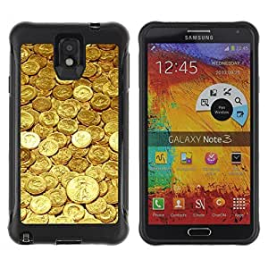 Hybrid Anti-Shock Defend Case for Samsung Galaxy Note 3 / Gold Coins Money