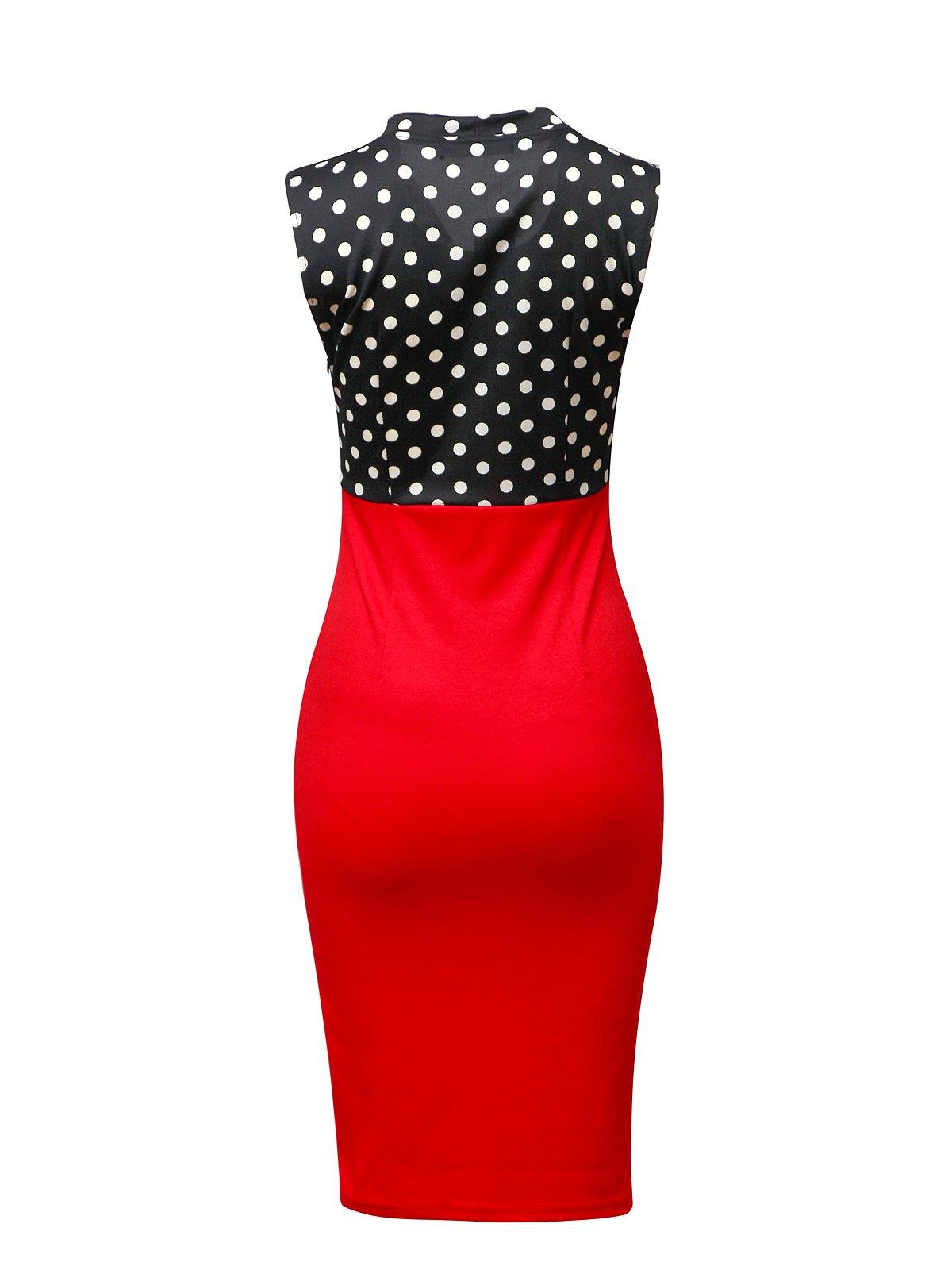 CISMARK Elegant Color block V-Neck Sleeveless Office Pencil Dress Red M by CISMARK (Image #2)