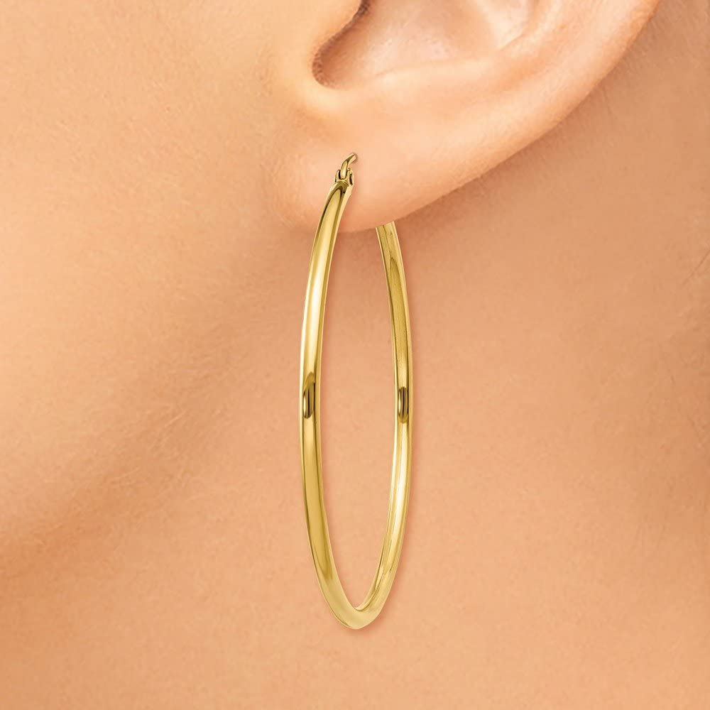 42x2mm 10k Yellow Gold Polished 2mm Round Hoop Earrings Fine Jewelry Ideal Gifts For Women