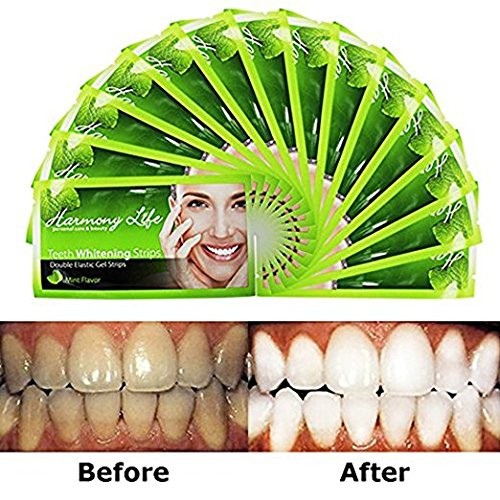 Harmony Life Teeth Whitening Strips 6%HP Professional Strength, Advanced Double Elastic Gel Strips Custom Teeth Bleaching System,28 Count, Bonus Paper Shade Guide, Mint Flavor