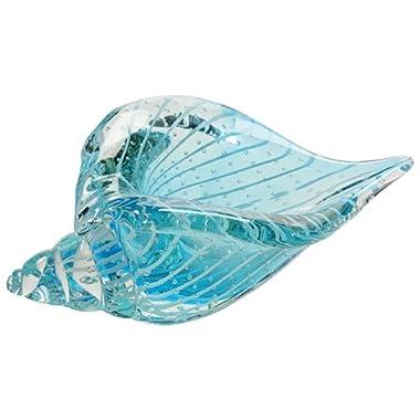 Art Glass Clear Blue Shell