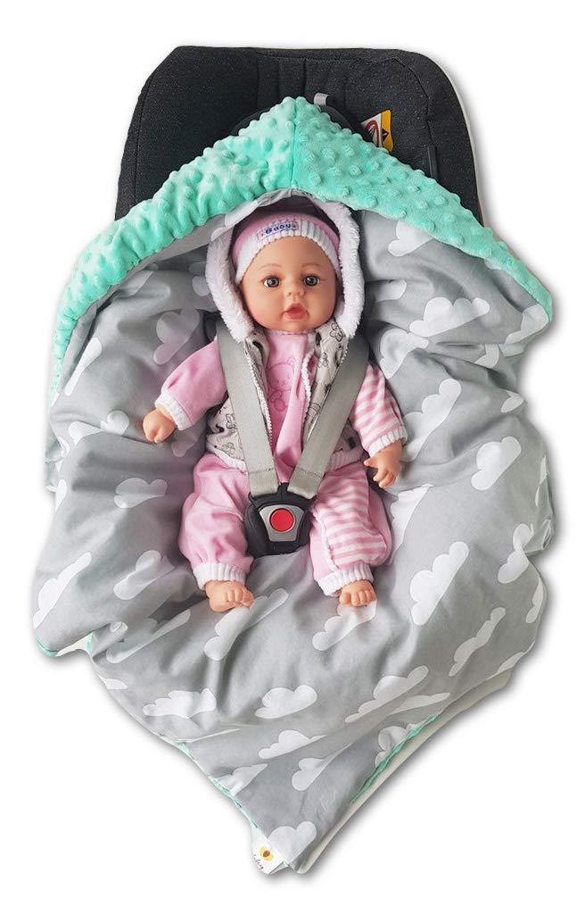 BABEES/© WINTER Einschlagdecke mit F/üllung f/ür Babyschale Autositz Universal z.B Maxi-Cosi R/ömer Cybex warm Minky Baby Decke mit Klettverschluss f/ür Kinderwagen Babytragen Babybett wattiert