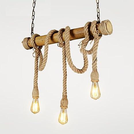 Vintage La Industria Loft bambú cáñamo cuerda - Lámpara de ...