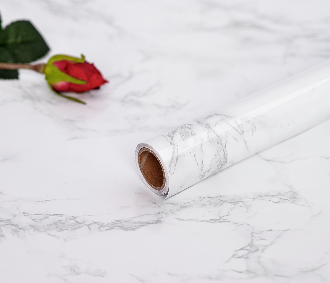 45 cm × 200 cm Marble Contact Paper PVC Material DIY Self Adhesive Vinyl Stickers Film Renovation Sticker Wallpaper for Kitchen Cupboards Worktops Counter Top Kitchen Worktop Furniture Renovation Sticky Marble Paper Marble Sticker Book Covering Film Conta