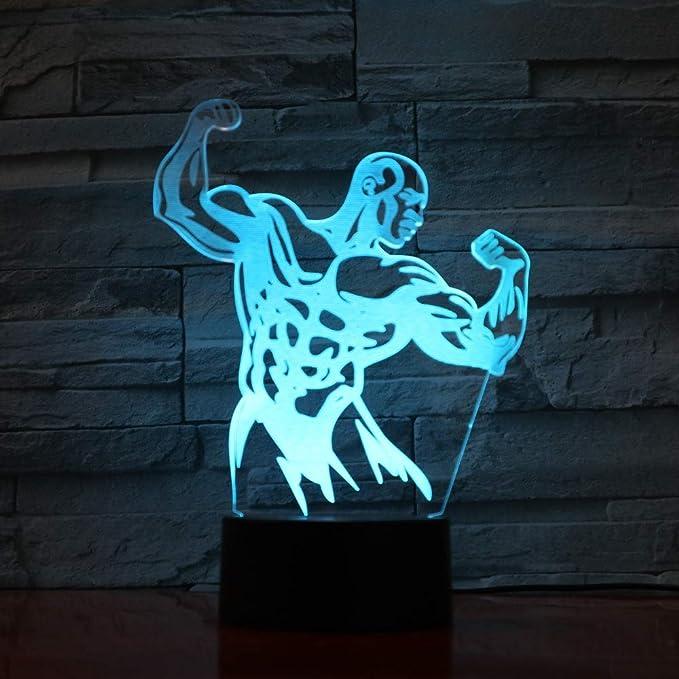 KangYD LED Strong Muscle Man 3D Night Light, Lámpara de mesa ...