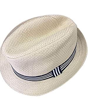 Summer Raffia Weave Straw Sun Hat Strap Woven Imported Wear for Baby and Children (Blue, for 2-6 Years Old)