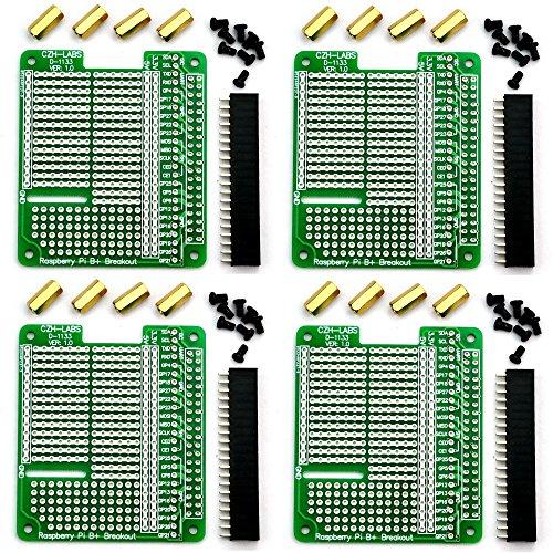 Board Shield - Electronics-Salon 4x Prototype Breakout PCB Shield Board Kit for Raspberry Pi 3 2 B+ A+, Breadboard DIY.