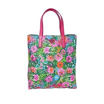 6b3a69890615 Amazon.com: Prada Nylon Floral Tote-Pink/Multi: Shoes