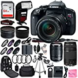 Canon EOS Rebel T7i DSLR Camera Quadruple Lens Photographer PRO BUNDLE + Canon EF-S 18-135mm f3.5-5.6 + Canon EF 75-300mm f4-5.6 III + .43 Wide & 2.2 Telephoto Lens + Filter Kit + 64GB Card + CW Cloth