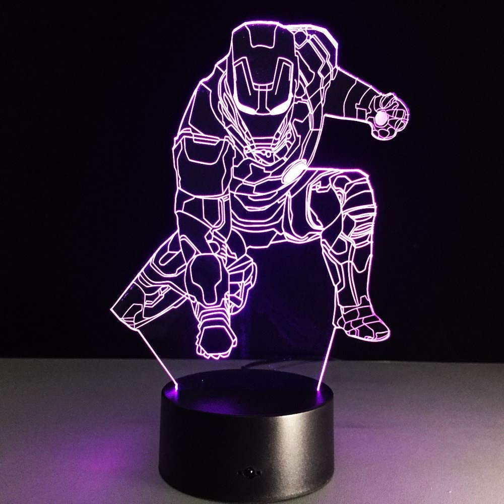OVIIVO Creative Table Lamp Desk Lamp Movie Anime 3D Lamp Captain America Ironman Spiderman Acrylic Figure Flash Lighting Toy for Kids Night Lamp Using for Reading, Working