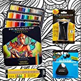 Prismacolor 72-Count Colored Pencils, Triangular Scholar Pencil Eraser, Premier Pencil Sharpener, Colorless Blender Pencils, and CSS Adult Coloring Book