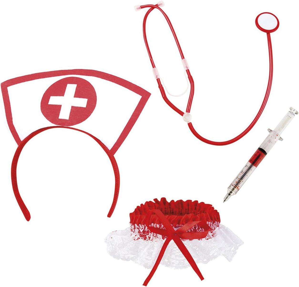 Boland 44803 – Juego de enfermera sexy, con arreif, estetoscopio, medias y lápiz de jeringa, médico, trabajo, fiesta temática, carnaval