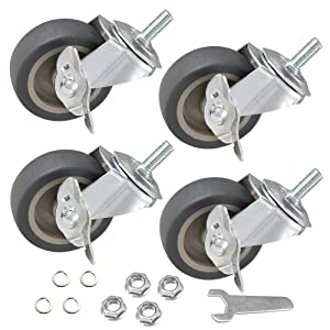 """JEMVOTIC Caster Wheels, 3/8""""-16x1""""(Screw Diameter 3/8"""", Screw Height 1"""") Threaded Stem Casters, 3"""" Grey Rubber Casters with Brake, Casters Set of 4, No Noise Swivel Casters, 4 Pack Locking Castors"""