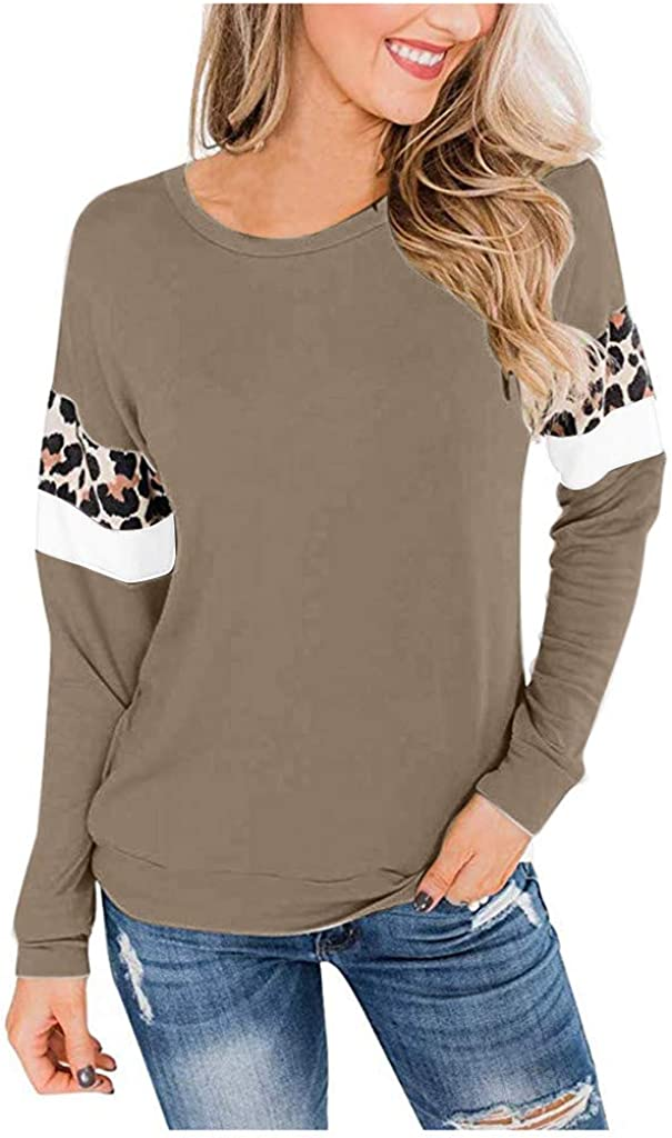Amlaiworld Women Cotton Blouse Leopard Patchwork Pullover Long Sleeve Casual Top Sweatshirt Top