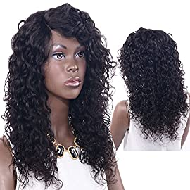 Sexy Lady Curly Wigs for Black Women 100% Brazilian Virgin Human Hair for African Americans with Lace Front Wig Hair Extensions (1B#, 168g, 16inch)