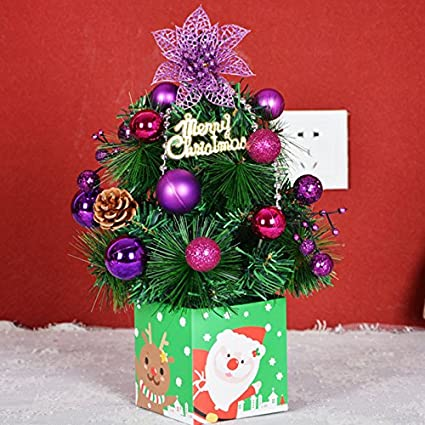 artificial christmas tree holiday hotel home decorations table led xmas gift 30cm 45cm small pine placed - Small Purple Christmas Tree